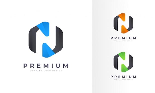 Profesjonalny nowoczesny prostokąt n list logo szablon projektu