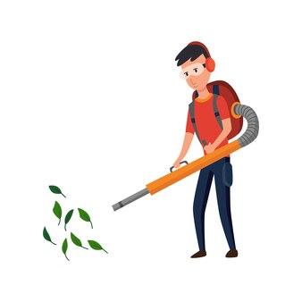 Profesjonalny ogrodnik pracujący na podwórku jesienią. męska złota rączka czyści ziemię i zbiera liście za pomocą odkurzacza ogrodowego. ilustracja kolorowy płaski wektor profesjonalnego pracownika.