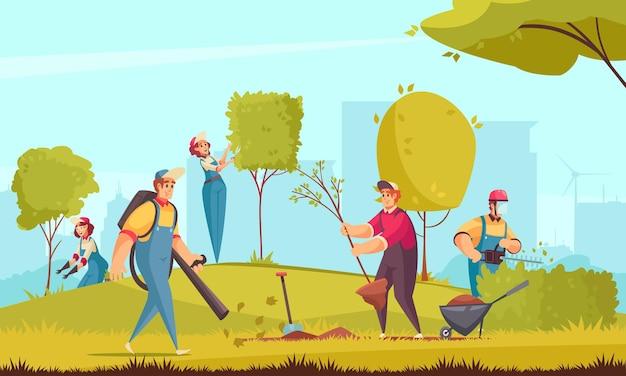 Profesjonalny ogrodnik pracujący z płaską ilustracją drzew i krzewów