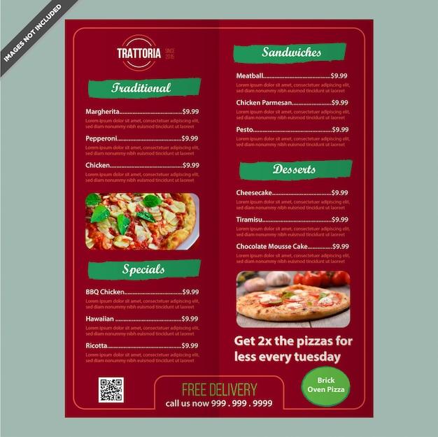 Profesjonalny projekt szablonu menu miejsce pizza