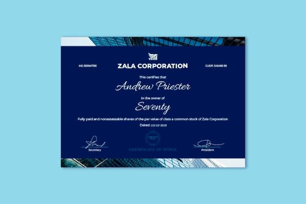 Profesjonalny prosty certyfikat akcji zala