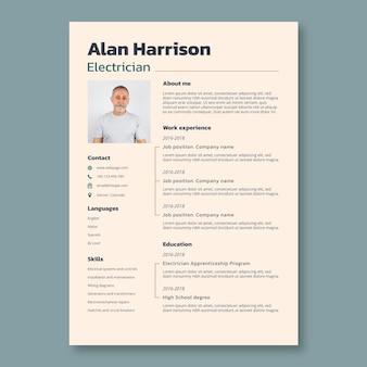 Profesjonalny prosty szablon cv dla elektryków