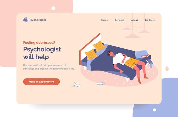 Profesjonalny psycholog pomaga na pierwszym ekranie strony docelowej. sesje terapeutyczne dla bohaterów z depresją. apatyczny częściowo ubrany facet leżący w złym miejscu w brudnym pokoju i zwlekający ze smartfonem