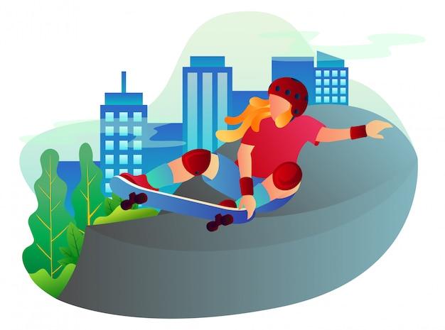 Profesjonalny skater w akcji w parku deskorolkowym w centrum miasta.