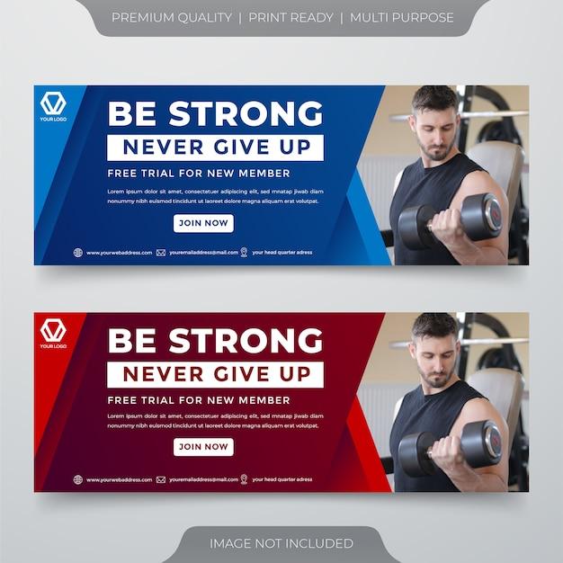 Profesjonalny szablon banera mediów społecznościowych siłowni