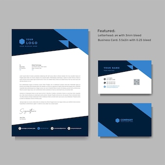 Profesjonalny szablon wektor kreatywny papier firmowy i wizytówki