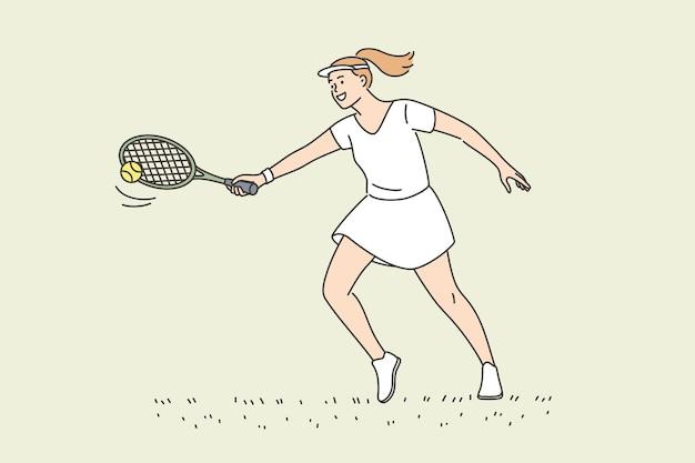 Profesjonalny tenisista i koncepcja aktywnego stylu życia. młoda uśmiechnięta kobieta sportowiec sportowiec postać z kreskówki trzyma rakietę, grając w tenisa, mając aktywny styl życia ilustracji wektorowych