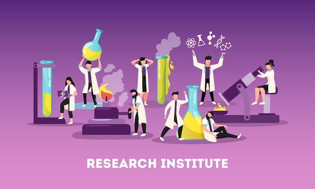 Profesjonalny zespół instytutu badań naukowych w pracy płaskiej ilustracji