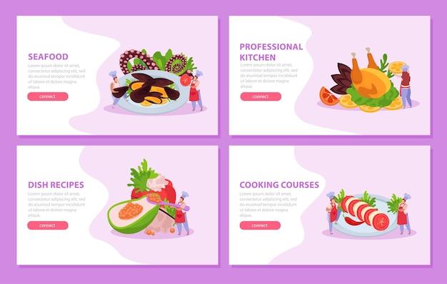 Profesjonalny zestaw kuchenny poziomych banerów ze stroną docelową dań dla smakoszy