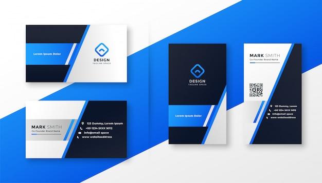 Profesjonalny zestaw szablonów niebieski wizytówki