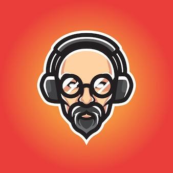 Profesor głowa gracza maskotka logo