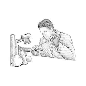 Profesor w laboratorium