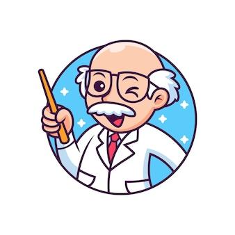 Profesor z śmieszną pozą kreskówką. ikona ilustracja. koncepcja ikona osoby na białym tle