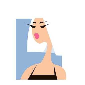 Profil blond dziewczyny logo w stylu ilustracji mody pojedyncze śmieszne cliparty