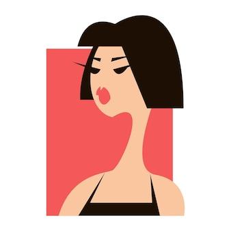 Profil dziewczyny z krótkimi czarnymi włosami ilustracja mody długa szyja logo