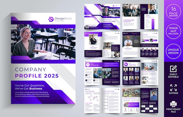 Profil firmy 16 stron układ szablonu broszury projekt