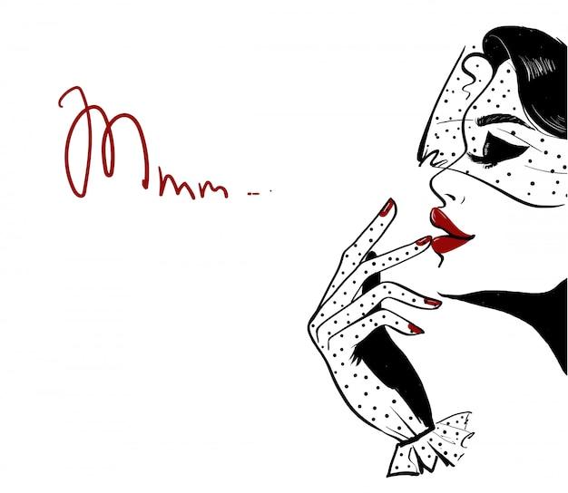 Profil kobiety w kropki welon i czerwone usta