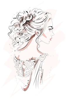 Profil piękna młoda kobieta.