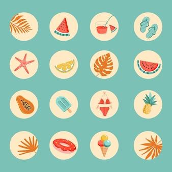 Profil podświetlenia profilu na instagramie zestaw ikon letnich