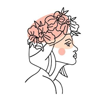 Profil twarz kobiety z wieńcem kwiatów orchidei we włosach ciągły rysunek linii
