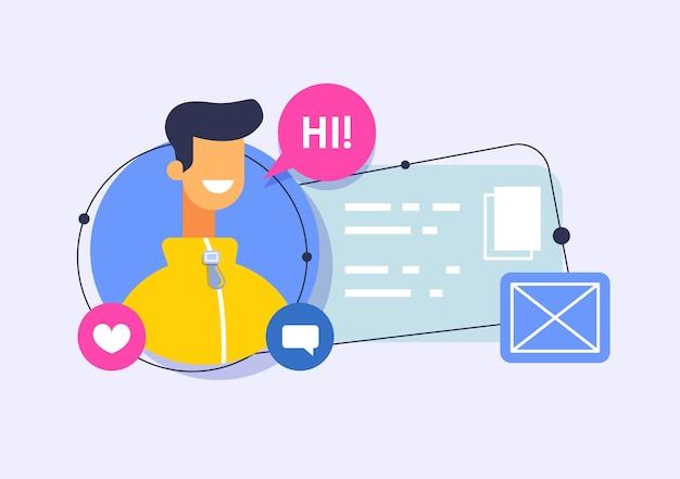 Profil użytkownika online. profil w sieciach społecznościowych, informacje o użytkowniku w komunikatorze.