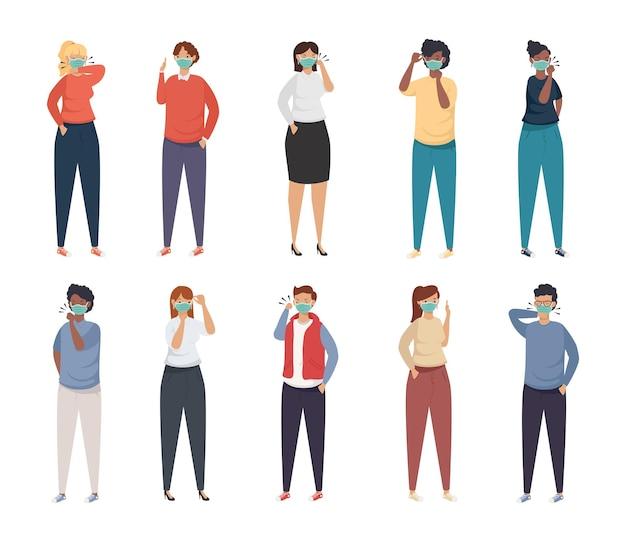 Profilaktyka covid, młodzi ludzie używający ilustracji maski medycznej twarzy