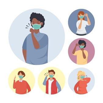Profilaktyka covid, osoby korzystające z projektu ilustracji maski medycznej twarzy
