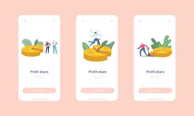 Profit share szablon ekranu aplikacji mobilnej na pokładzie. małe biznesmeni i postacie przedsiębiorców stoją na ogromnym wykresie kołowym pokazującym udziały koncepcji partnerów. ilustracja wektorowa kreskówka ludzie