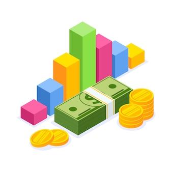 Prognoza kursu walut, diagram biznesowy, inwestycje, rachunkowość zarządzania pieniędzmi