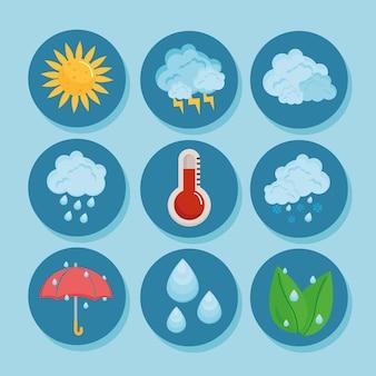 Prognoza pogody dziewięć ikon