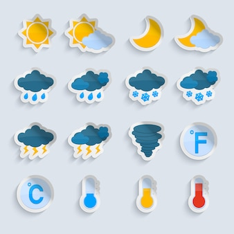 Prognoza pogody symbole naklejki papier zestaw słońce chmury deszcz i śnieg na białym tle ilustracji wektorowych