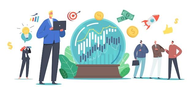 Prognozy biznesowe, prognoza koncepcji trendów rynkowych, małe postacie biznesowe w ogromnej kryształowej kuli próbującej przewidzieć ekonomię akcji w celu uzyskania korzyści finansowych. ilustracja wektorowa kreskówka ludzie