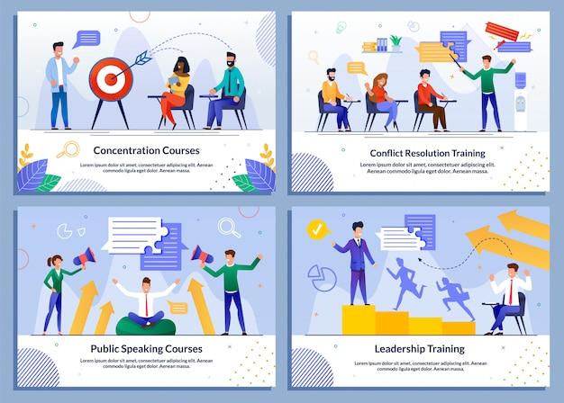 Program edukacyjny dla banerów zestaw biznesmenów
