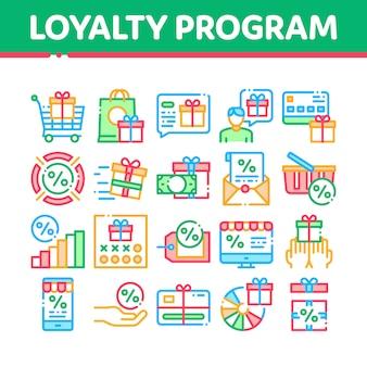 Program lojalnościowy dla klienta zestaw ikon