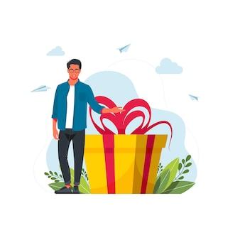 Program lojalnościowy dla koncepcji concept.business stałych klientów. człowiek posiada duże pudełko. ilustracja kreskówka płaski wektor. człowiek z szkatułce. prezent na święta. dziewczyna stojąca obok dużego prezentu.