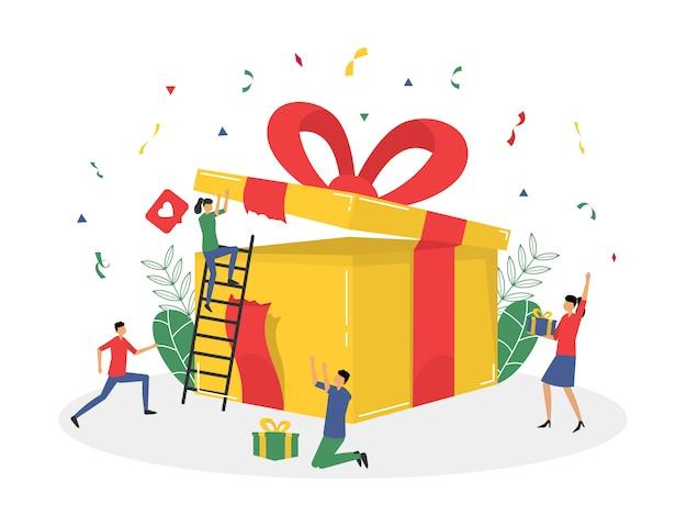 Program lojalnościowy i otrzymywanie prezentu i nagrody płaska ilustracja