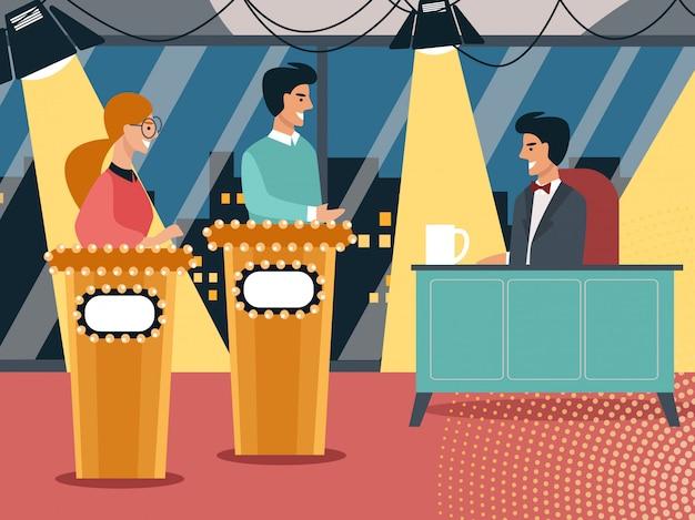 Program telewizyjny z prezenterem i uczestnikami
