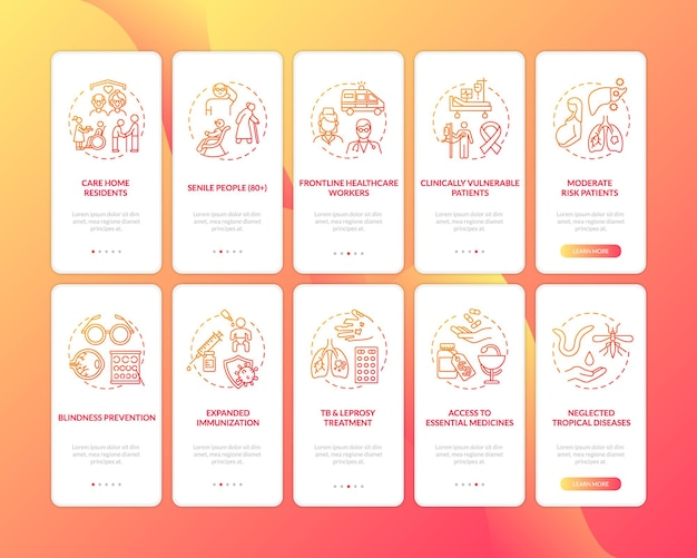 Program zdrowotny wprowadzający ekran strony aplikacji mobilnej z ustawionymi koncepcjami. przewodnik po zasadach opieki zdrowotnej 10 kroków instrukcji graficznych. szablon ui z kolorowymi ilustracjami rgb
