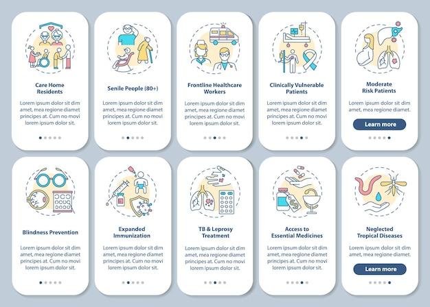 Program zdrowotny wprowadzający ekran strony aplikacji mobilnej z ustawionymi koncepcjami