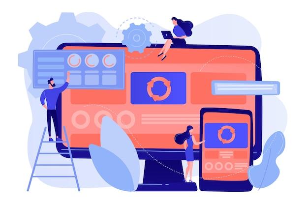 Programiści na komputerze i smartfonie pracujący nad aplikacją jednostronicową, malutkie osoby. aplikacja jednostronicowa, strona internetowa spa, koncepcja trendów w tworzeniu stron internetowych