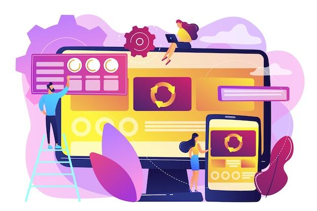 Programiści przy komputerze i smartfonie pracujący nad aplikacją jednostronicową, malutkie osoby. aplikacja jednostronicowa, strona internetowa spa, koncepcja trendów w tworzeniu stron internetowych. jasny żywy fiolet na białym tle ilustracja