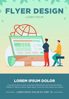 Programiści testujący oprogramowanie. mężczyzna z laptopami ogląda infografiki, naprawia błędy, korzysta z komputera. ilustracja wektorowa dla aplikacji, programowania, koncepcji kodowania