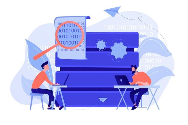 Programiści z laptopami pracujący nad kodem i big data. tworzenie oprogramowania, przetwarzanie i analiza danych, aplikacje danych i koncepcja zarządzania. ilustracja wektorowa na białym tle.