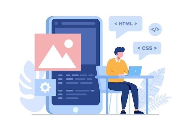 Programista aplikacji mobilnych. języki programowania. css, html, to, interfejs użytkownika. mężczyzna programista postać z kreskówki rozwijająca stronę internetową, kodowanie. płaski baner ilustracji