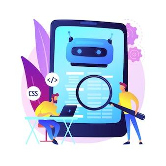 Programista java. oprogramowanie na smartfony. kodowanie w javascript, pisanie aplikacji, programowanie css. manipulowanie kodem źródłowym html. program mobilny. ilustracja koncepcja na białym tle.