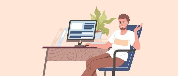 Programista, koder, programista lub inżynier oprogramowania siedzący przy biurku i pracujący na komputerze lub programowaniu. młody facet działa z domu wektor