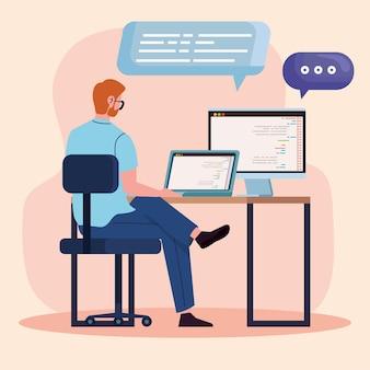 Programista komputerów w miejscu pracy