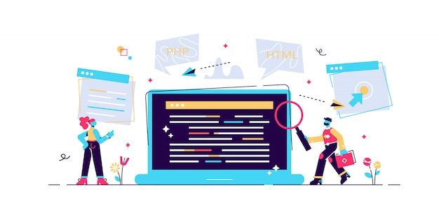Programista koncepcyjny, kodowanie, programowanie, tworzenie stron internetowych i aplikacji. ilustracja, rozwój aplikacji, prototypowanie i testowanie api oprogramowania, proces budowy interfejsu, uruchomienie