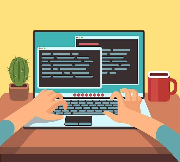 Programista osoba pracująca na komputerze przenośnym z kodem programu na ekranie. kodowanie i programowanie koncepcja wektor. ilustracja oprogramowania programistycznego, typ kodowania