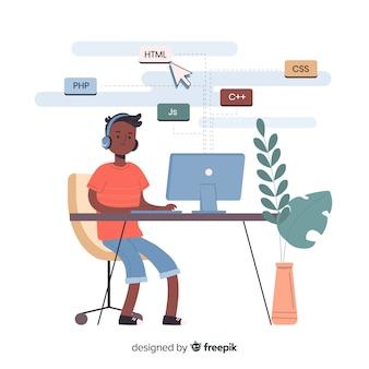 Programista Pracujący Przy Biurku Darmowych Wektorów